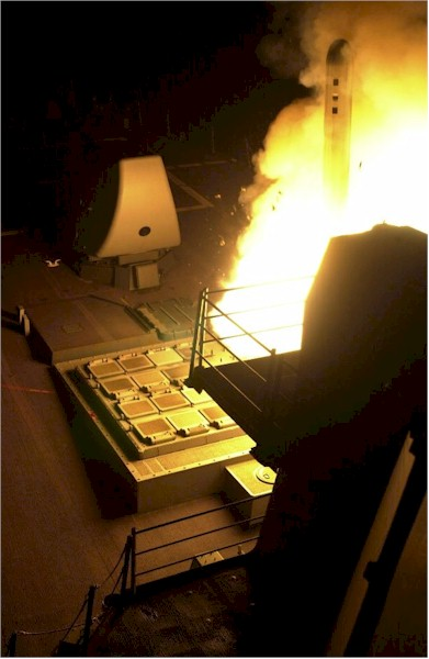 Tomahawk fired at Afghanistan 10/8/2001) from DDG-53