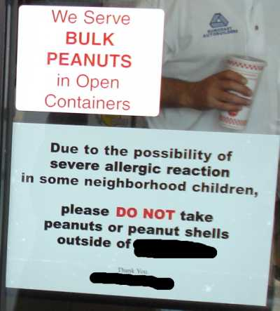 Peanuts in here warning